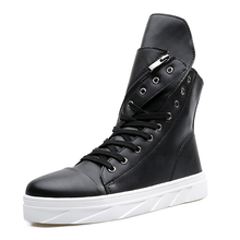 popular stylish man's thick sole high top shoes pure white black color cool trend autumn boots zip lace-up match rotate style