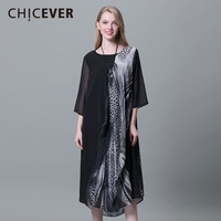 CHICEVER Spring Leopard Print Women Dress Female Three Quarter Sleeve Loose Big Size Chiffon Pullovers Dresses