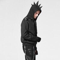 Steampunk Visual Kei Black Rivet Studded Man Pullover Hoodies Punk Rock Gothic Casual Jacket Coats