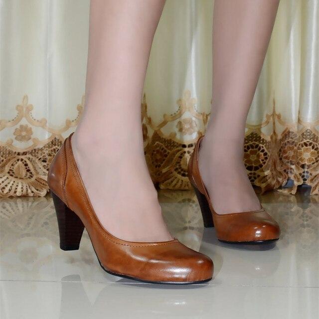 Женские насосы обувь из натуральной кожи мед пятки женской обуви Воск кожа платье насосы для женщин управление дамы чистые кожаные ботинки 5329-4