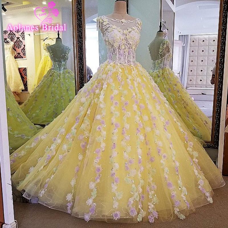 Online Shop 2017 New Ball Gown Crystal Scoop Sleeveless Court Train Yellow Tulle Bridal Wedding Dress Lace Vestido De Noiva