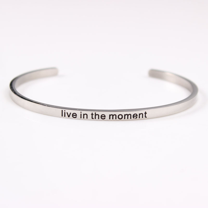 Dream Stainless Steel Engraved Positive Inspirational Quote fashion BAR Cuff Bracelet Mantra Bangle for women in Bangles from Jewelry Accessories