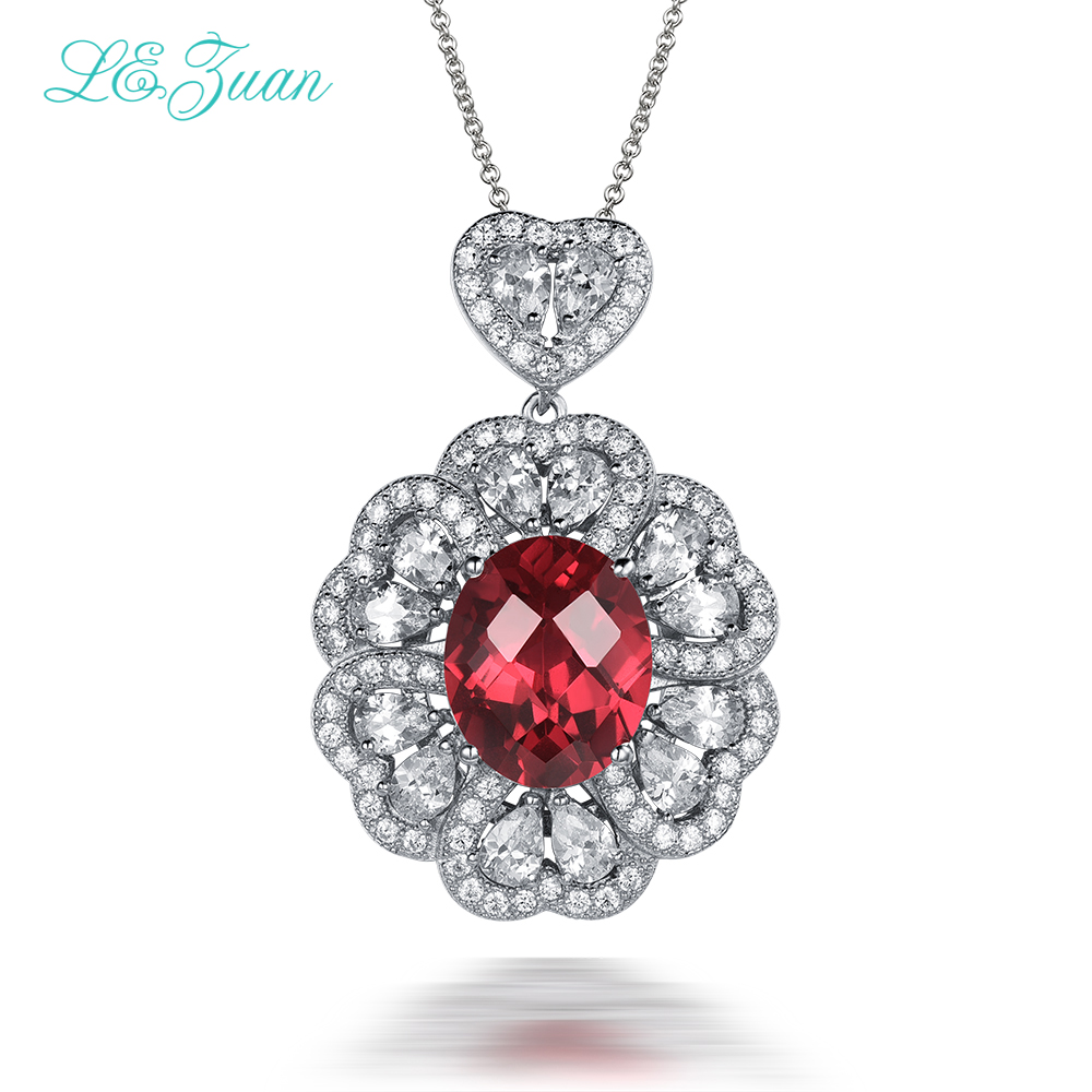 l&zuan Trendy Natural 6.37ct Red Gems Luxury Pendant &necklace For Women Sterling Silver Jewelry Necklace For Women trendy gothic vivid beaded pendant lace necklace for women