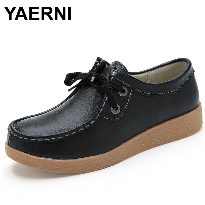 YAERNI new women flats genuine Leather shoes woman falts Moccasins Pregnant Women Shoe slip on Loafers Oxford platform white