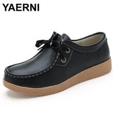 Yaerni Новый Для женщин на плоской подошве из натуральной кожи женская обувь плоской подошве мокасины для беременных женская обувь без шнуровки Лоферы для женщин Оксфорд на платформе белый