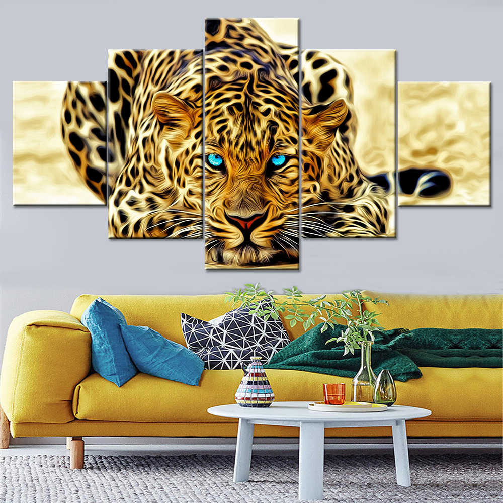 Art Wall Modern Home Decor Animal Leopard painting Printed on canvas living room