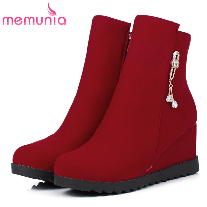 MEMUNIA Wedges boots for women in spring autumn boots fashion shoes woman PU nubuck leather ankle boots big size 34-43