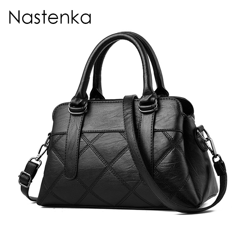 Nastenka Ladies Luxury Handbags Women Bags Designer 2018 Handbag Vintage Leather Shoulder Bag Women Crossbody Bags Tote Blosa