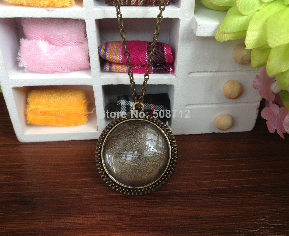 Vintage Style Pendant Tray Plus Glass Maching Dome Inserts Plus One Kit Size Glaze With 60cm Chain Necklace Selected Material 25mm 1 Inch