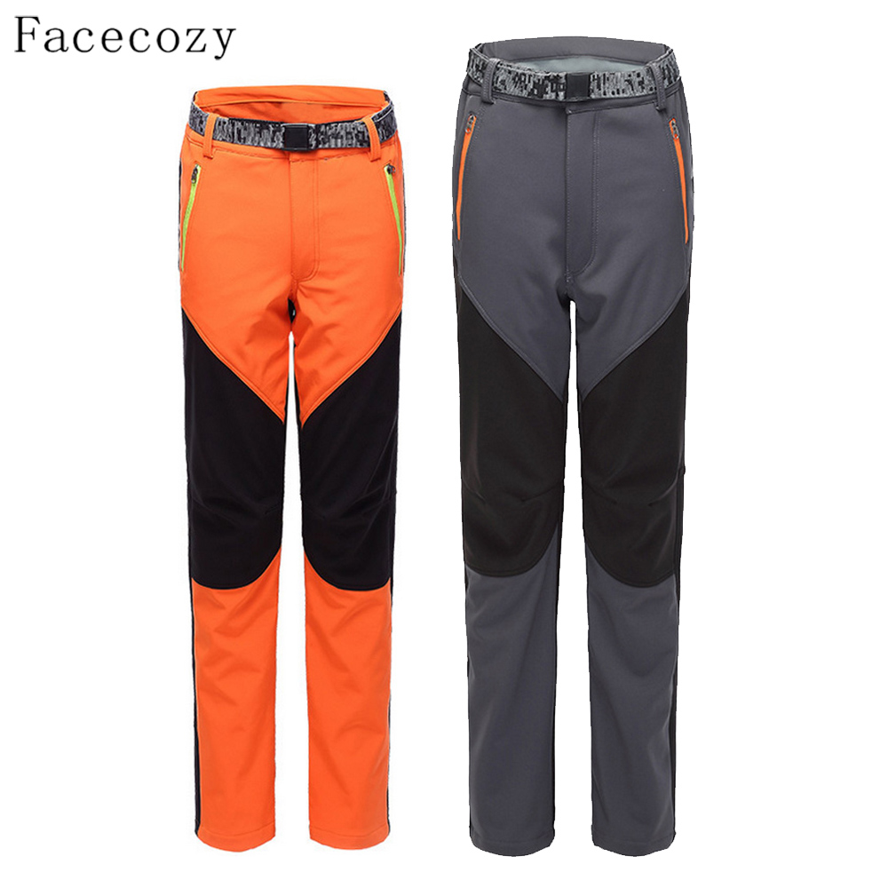 ФОТО Facecozy Lovers Autumun Outdoor Thermal Fishing Trouser Female Windproof Hiking Softshell Fleece Sports Pants