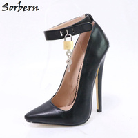 Sorbern Black Shoes Woman Party Pump Heels Ankle Strap With Locks Pointy Toes Ladies High Heels 18Cm Ankle Ladies Party Shoes