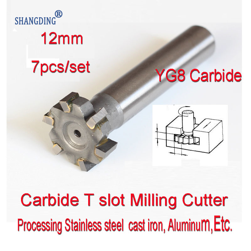 12mm* 3-4-5-6-8-10-12mm 7pcs Petiole 10mm YG8 Carbide T Slot Milling Cutter Processing Stainless Steel  Cast Iron, Aluminum, Etc