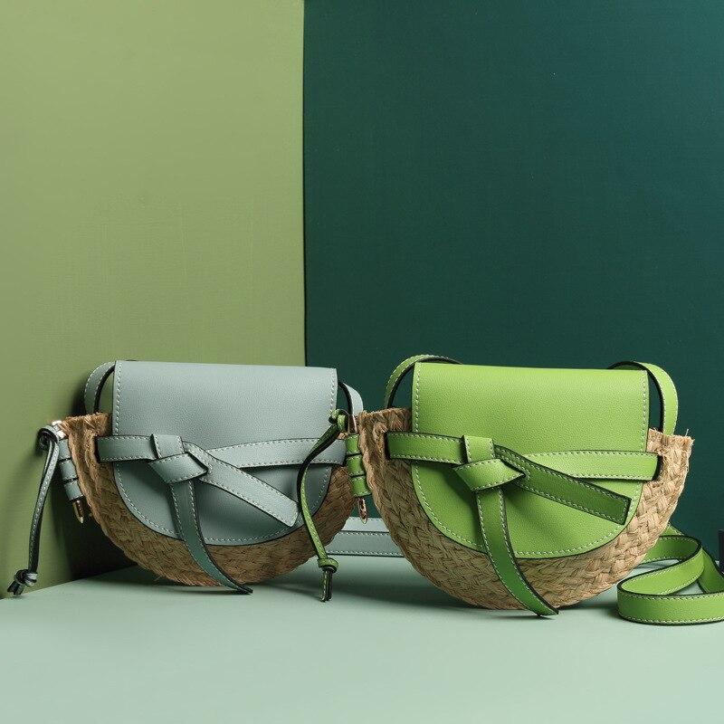 Patchwork en cuir véritable tissé à la main sac de paille femmes sacs de selle Designer sac à bandoulière pour femmes plage sacs à main pochette