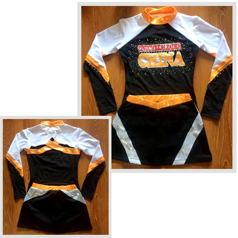 Custom Style Competion Cheerleader Uniform Professonal Performance Lycra Outfit Sport Costume Pom Pom Hairbow