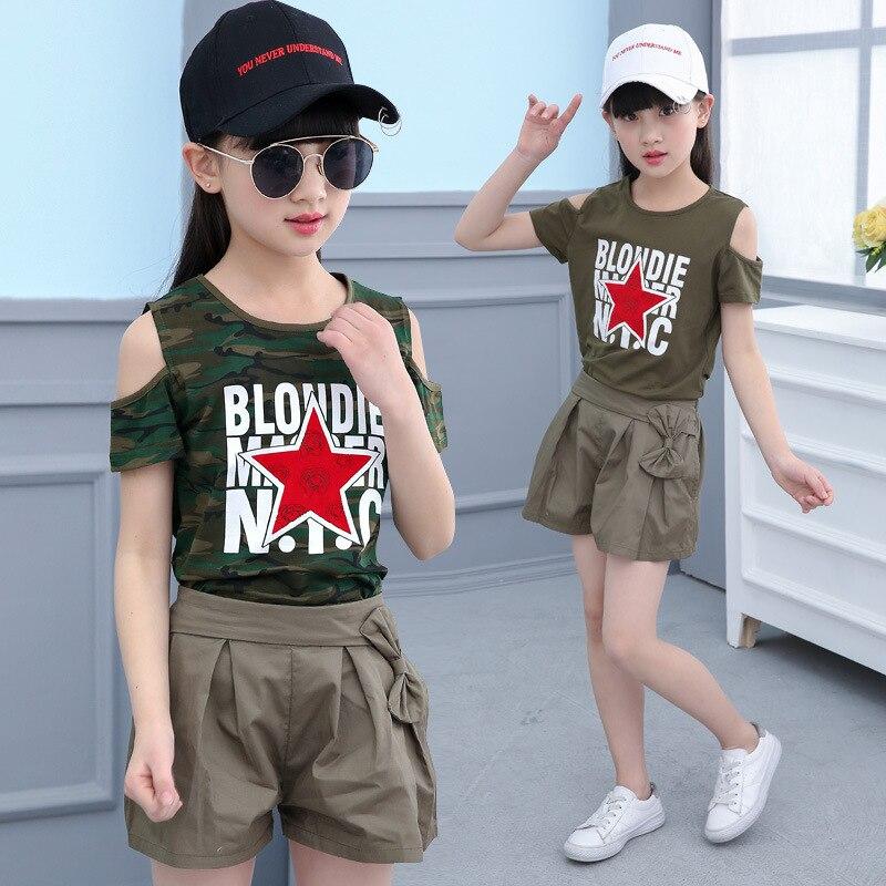 Childrens summer kids children sets wear new fashion girl fashion camouflage T-shirt + shorts sports leisure suit