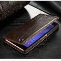 Luxo Magnetic Auto Flip Original Mobile Phone Case Bag Para Sony xperia cobertura carteira de couro genuíno stand case para sony z5 z5