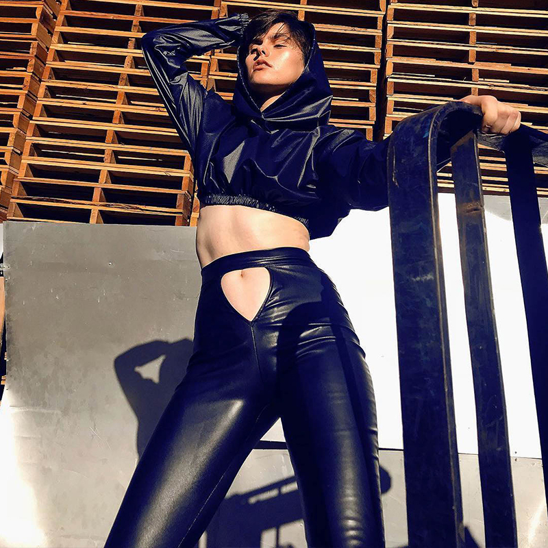 InsGoth Hollow Out Sexy PU Leather Pants Gothic Punk High Waist Bodycon Pencil Solid Black Casual Long Trousers Women Pantalon 1