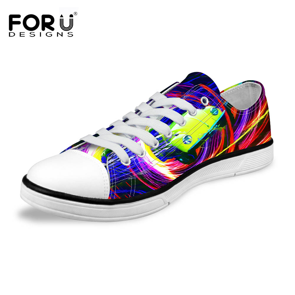 FORUDESIGNS 217 Fashion Mens Colorful Painting Vulcanized Shoes Classic Star High Top & Low Style Lace-up Canvas Shoes for Male все цены