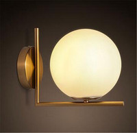 novelty glass iron round ball wall lamp bedside dining room living room aisle decoration wall lights A60