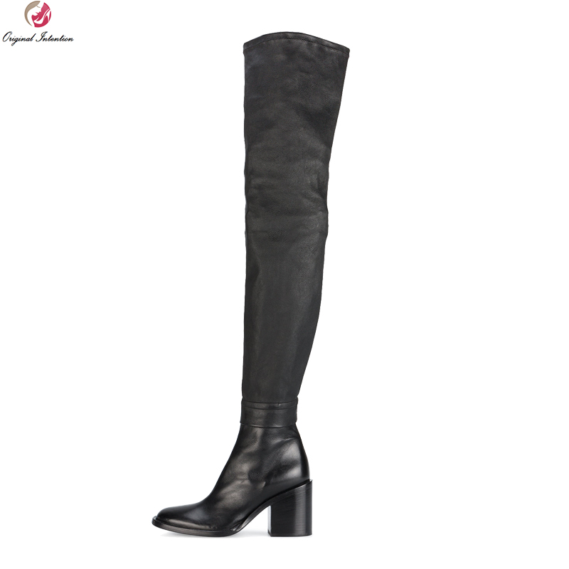 цена Original Intention Super Elegant Women Over-the-Knee Boots Round Toe Square Heels Boots New Black Shoes Woman Plus US Size 3-13