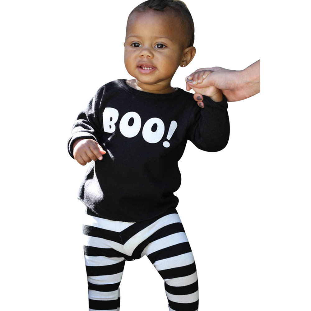 Autumn Kids things childrens Clothing for babies newborn Kid Infant Baby Boy Little Devil Blouse Top+Stripe Pants Halloween Set