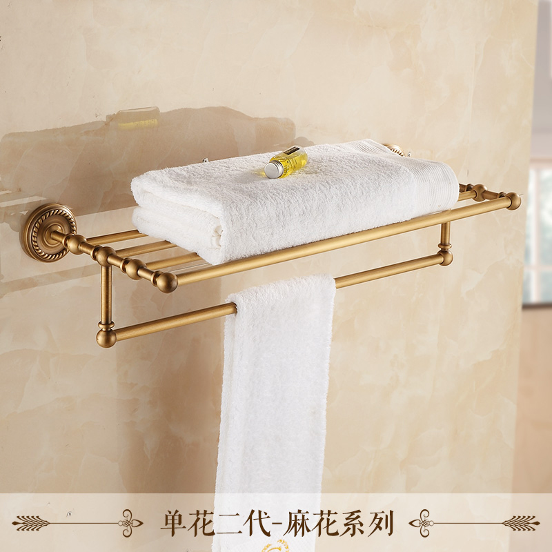 Wall Mounted Retro Style Bath Towel Shelf Antique Brass Bathroom ...