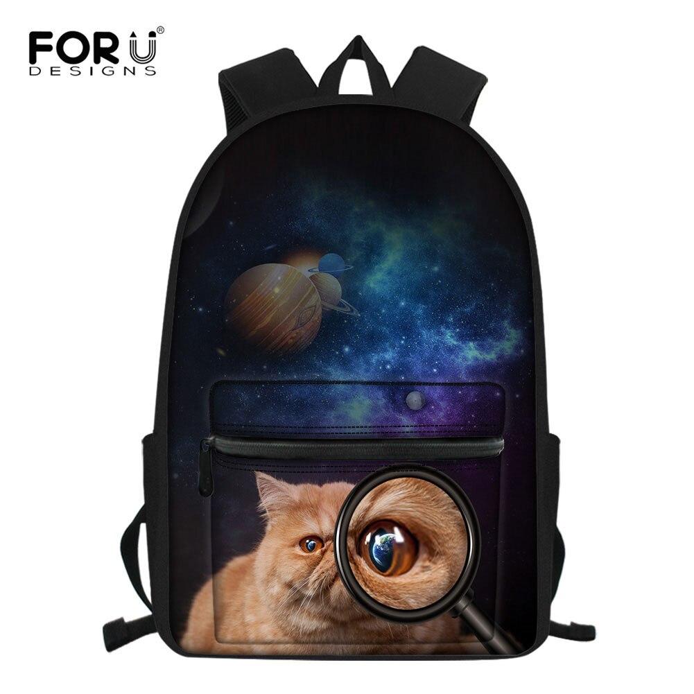 FORUDESIGNS Kawaii Cat Galaxy School Bag For Girls Orthopedic Backpack Children Student Bagpack Book Bag Satchel Mochila Escolar