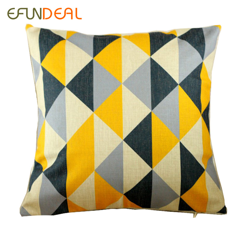 buy vintage cotton linen cushion cover pillow case yellow grey triangle. Black Bedroom Furniture Sets. Home Design Ideas