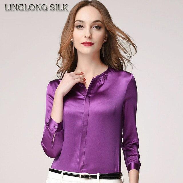 6432cd09be Blusas 1246A 100% Amoreira Seda de Cetim de seda Charmeuse Tecido Tecido  Mulheres Camisa Camisas