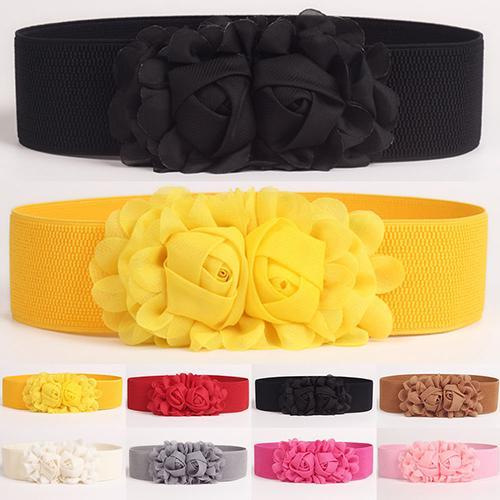 Women Girl Fashion Wide Stretch Elastic Waist Belt Solid Color Flower Waistband New