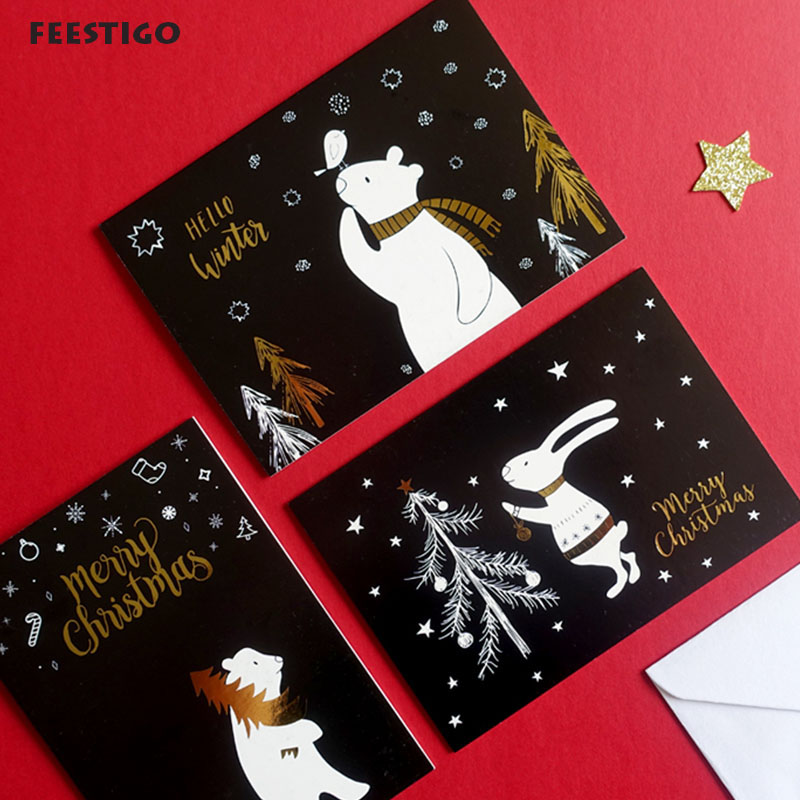 4 Card + 4 envelope /lot Merry Christmas Greeting Card ...