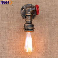IWHD E27 Loft Style Iron Valve Vintage Wall Lamp Industrial Edison Wall Sconce Retro Water Pipe Wall Light Fixtures Lighting