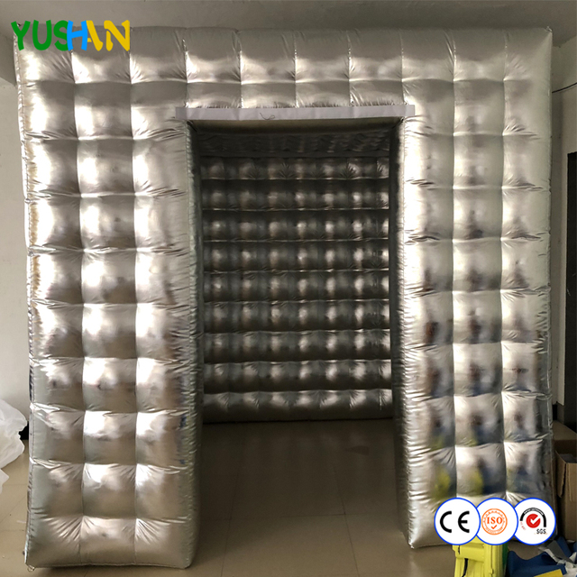 Shiny Silver Oxford inflatable Photo booth Party Backdrops No LED Lights Photo booth Wedding backdrops Air blower Photo Booth