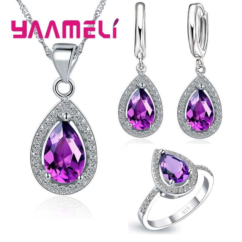 Trendy New Micro Crystal Necklace Earrings Set For Party Jewelry Accessory Women 925 Sterling Silver Bridal Wedding Sets