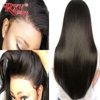 RXY перуанские волосы полный шнурок натуральные волосы парики для черных женщин маленькая крышка Прямой полный парик шнурка предварительно