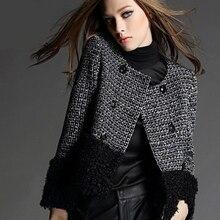 Skyesky Новый стиль бренд Зимняя шерстяная одежда Куртки Повседневное О-образным вырезом двубортный Карманы плед Мех животных лоскутное женский Пальто для будущих мам sk099