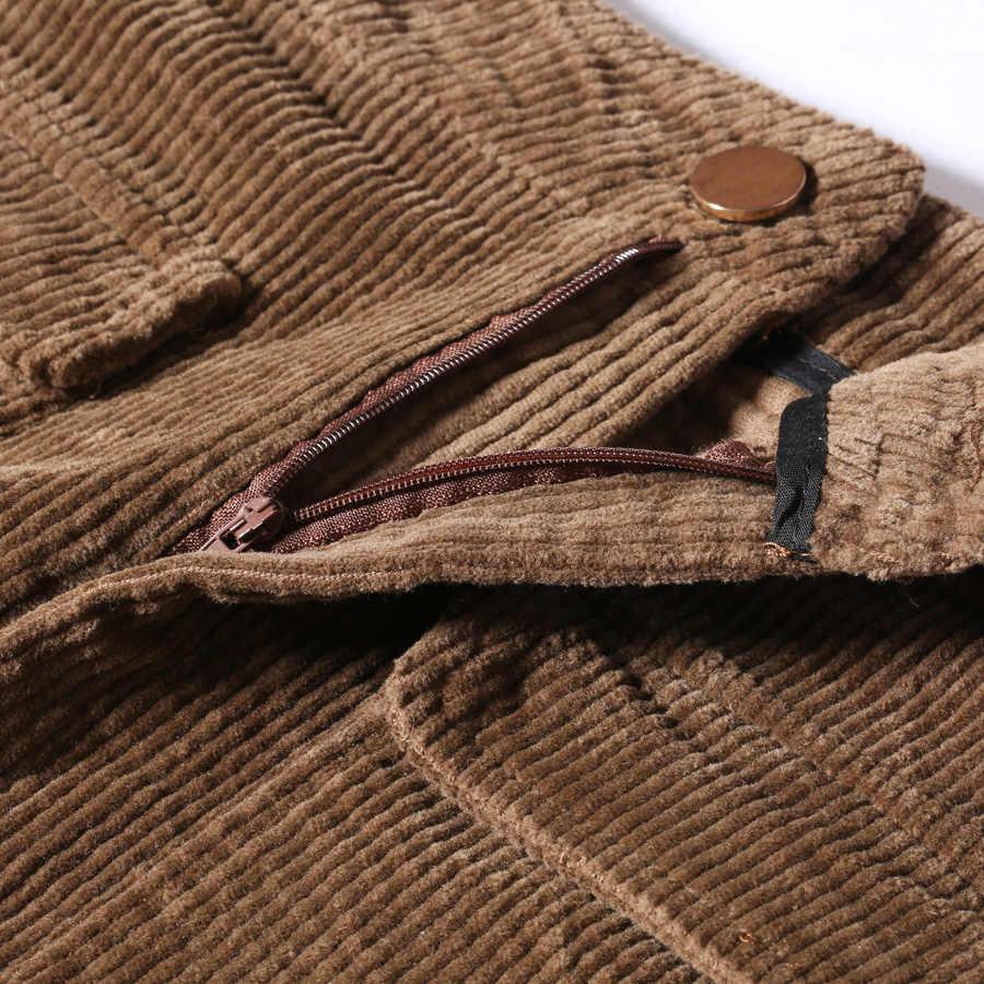 2ea4dc615d8 ... LXUNYI 2019 Autumn Corduroy Skirt Women Brown Black Office Skirt Pencil  Skirts Womens High Waist Ladies ...