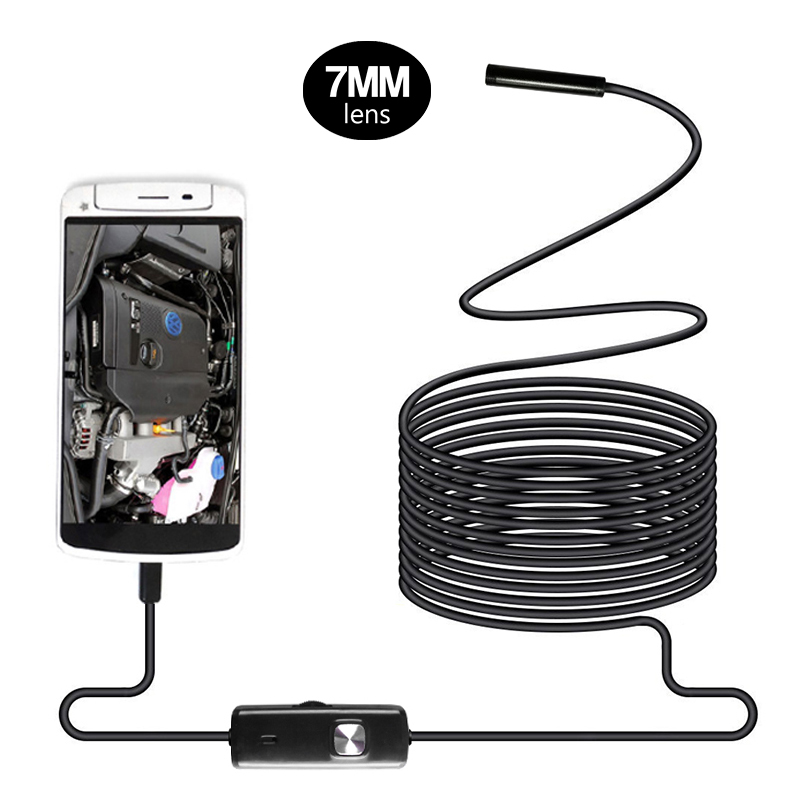 7mm Lens Waterproof Android Endoscope 1m/1.5m/2m/3.5m/5m/ Cable USB Endoscope Camera Inspection Borescope Car Endoscope Бороскопы