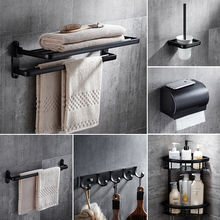 цена Modern Black Space Aluminum Bathroom Accessories Set Towel Shelf Towel Bar Paper Holder Cloth Hook Bathroom Hardware онлайн в 2017 году