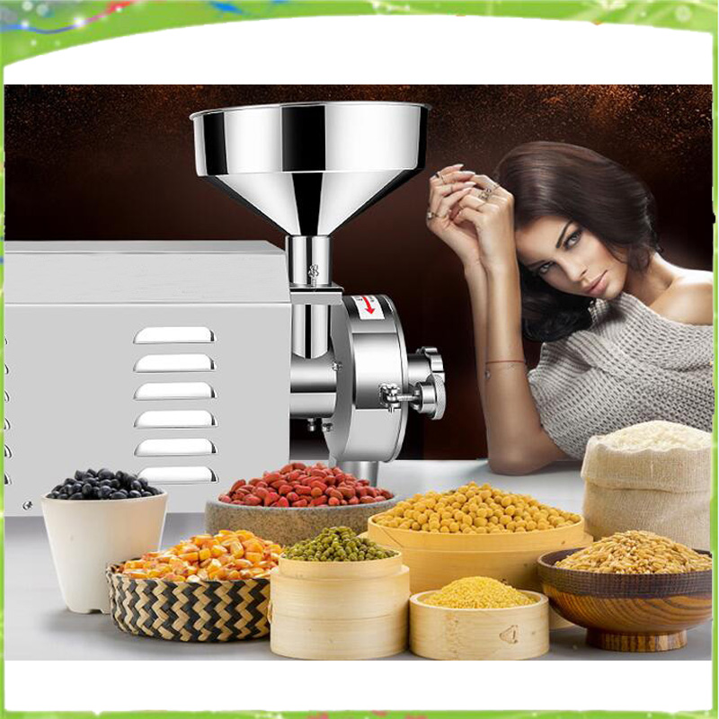 High quality 220V commercial flour mill medicine pulverizer cereal grain grinding machine steel bean wheat rice sesame grinder high quality 300g swing type stainless steel electric medicine grinder powder machine ultrafine grinding mill machine