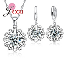 Jewelry-Set Necklace Crystal Sunflower 925-Sterling-Silver Wedding Women Love for Maxi