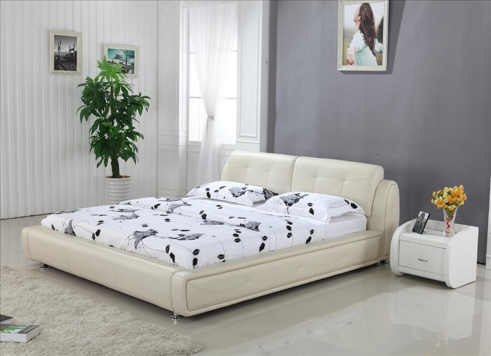 Buy high back cream top grain leather for Bedroom bed design