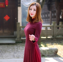 National costume Hanfu cotton women dress Chinese cheongsam Red retro hemp style hanfu claret