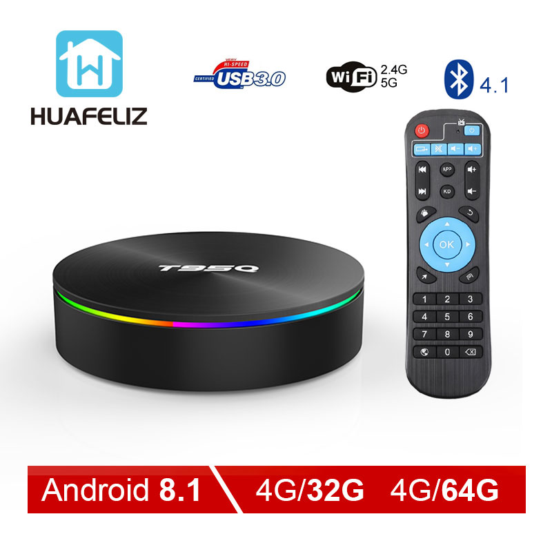 Huafeliz T95Q Android 8.1 4GB 32GB Amlogic S905X2 Quad Core 2.4/5.8G Wifi BT4.1 1000M