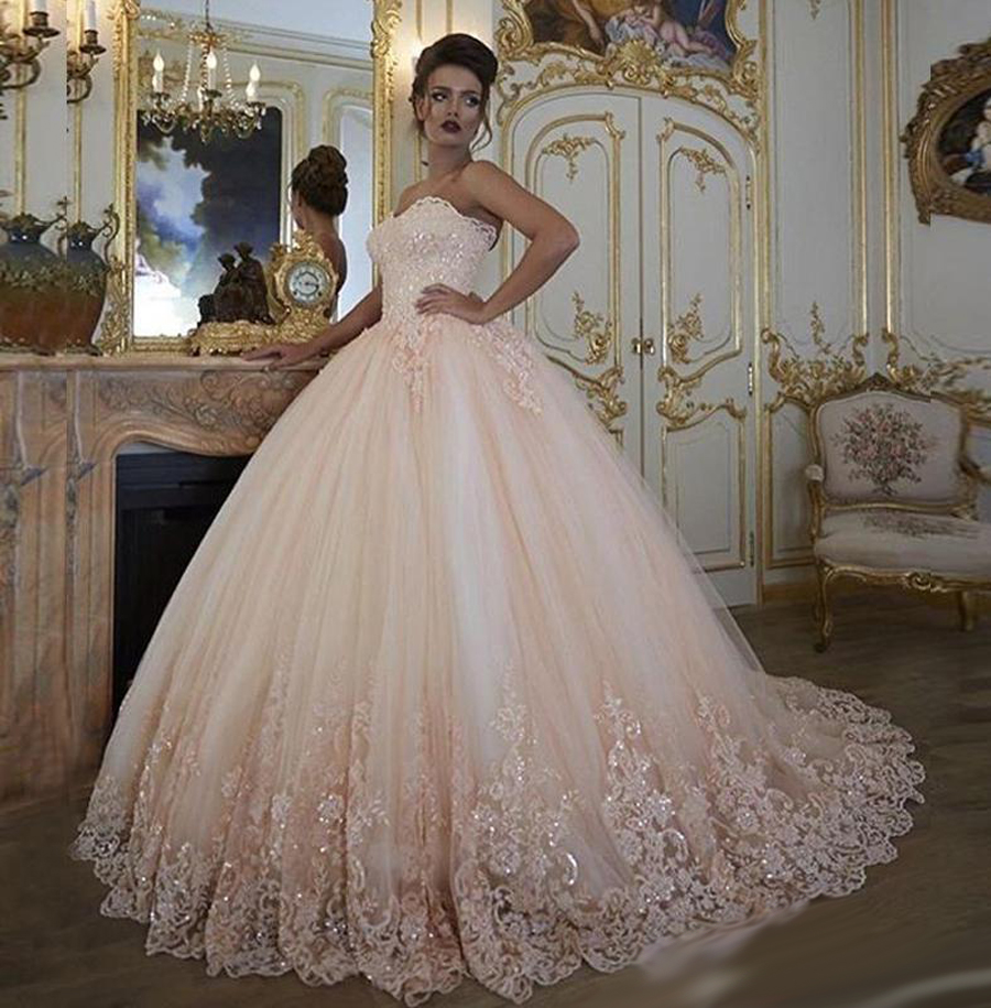 Pink Color Wedding Gown: Off Shoulder Vintage Quality Arab Wedding Dress Ball Gown