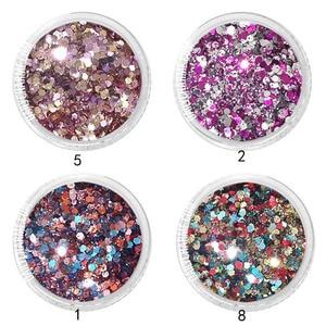 Image 5 - 4Color/set  Iridescent Nail Glitter Mix Set  Chunky& Fine 0.2 2mm Gel Mixed  Nail Glitter Powder Sequins Powder For UV Nails Art