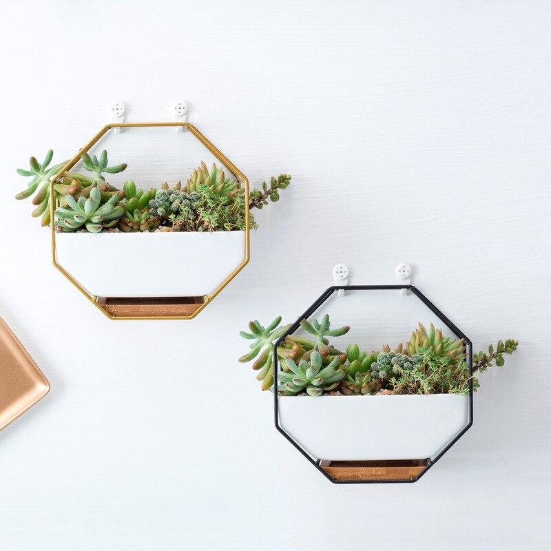 Achthoekige Geometrische Muur Opknoping Bloempotten Metalen Ijzeren Rek Keramische Planter Desktop Bloempot Bamboe Lade Ijzeren Frame Set Aromatisch Karakter En Aangename Smaak