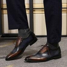 Феликс Чу; современные мужские туфли-оксфорды с перфорированным носком; официальная Обувь На Шнуровке из натуральной коровьей кожи; Разноцветные Модные Мужские модельные туфли