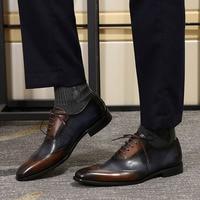 FELIX CHU Modern Wingtip Toe Men's Oxford Shoe Genuine Cow Leather Lace up Formal Shoes Mixed Colors Fashion Mens Dress Shoes