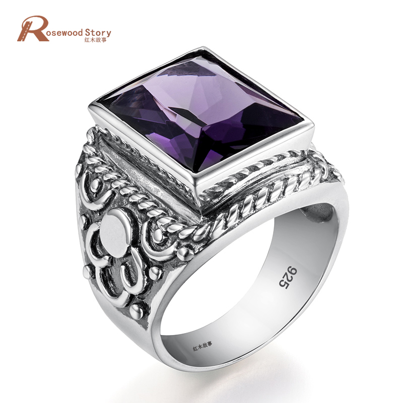 Luxury Gothic Purple Stone Statement Ring For Women Men Antique Wedding Party Ring 925 Sterling Silver